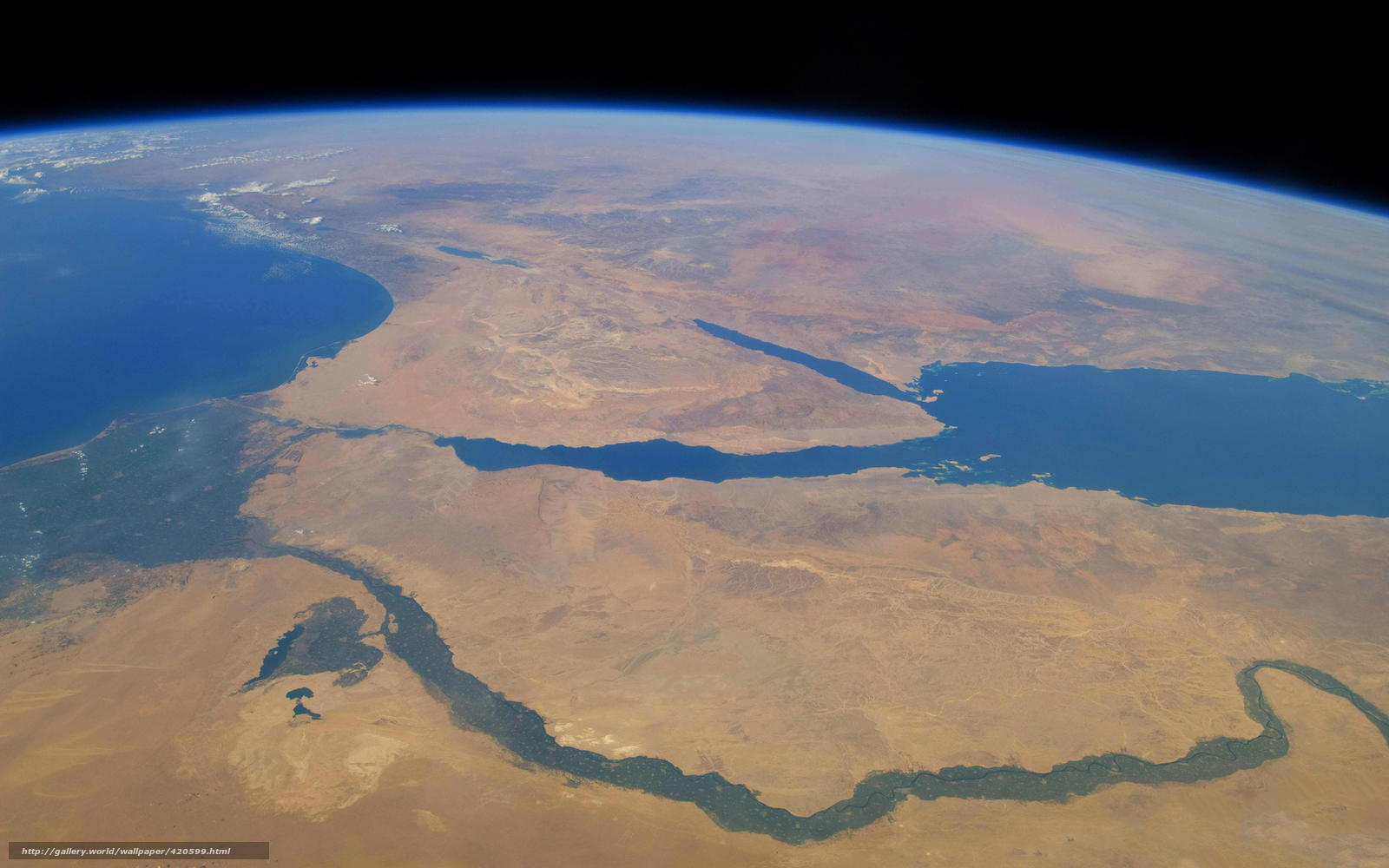 Скачать на телефон обои фото картинку на тему Земля, Африка, река, Нил, Красное море, Средиземное море, Синайский полуостров, разширение 1680x1050