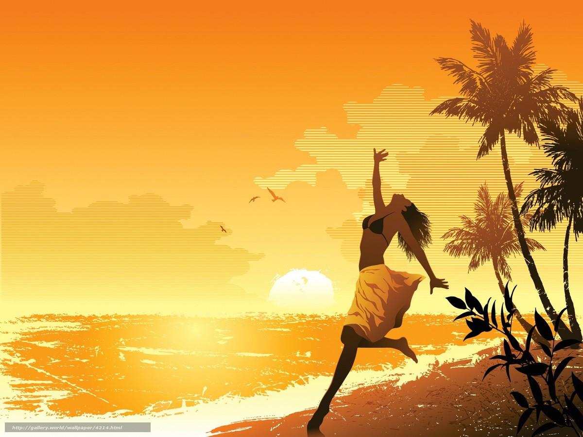 девушка солнце пляж-вт1