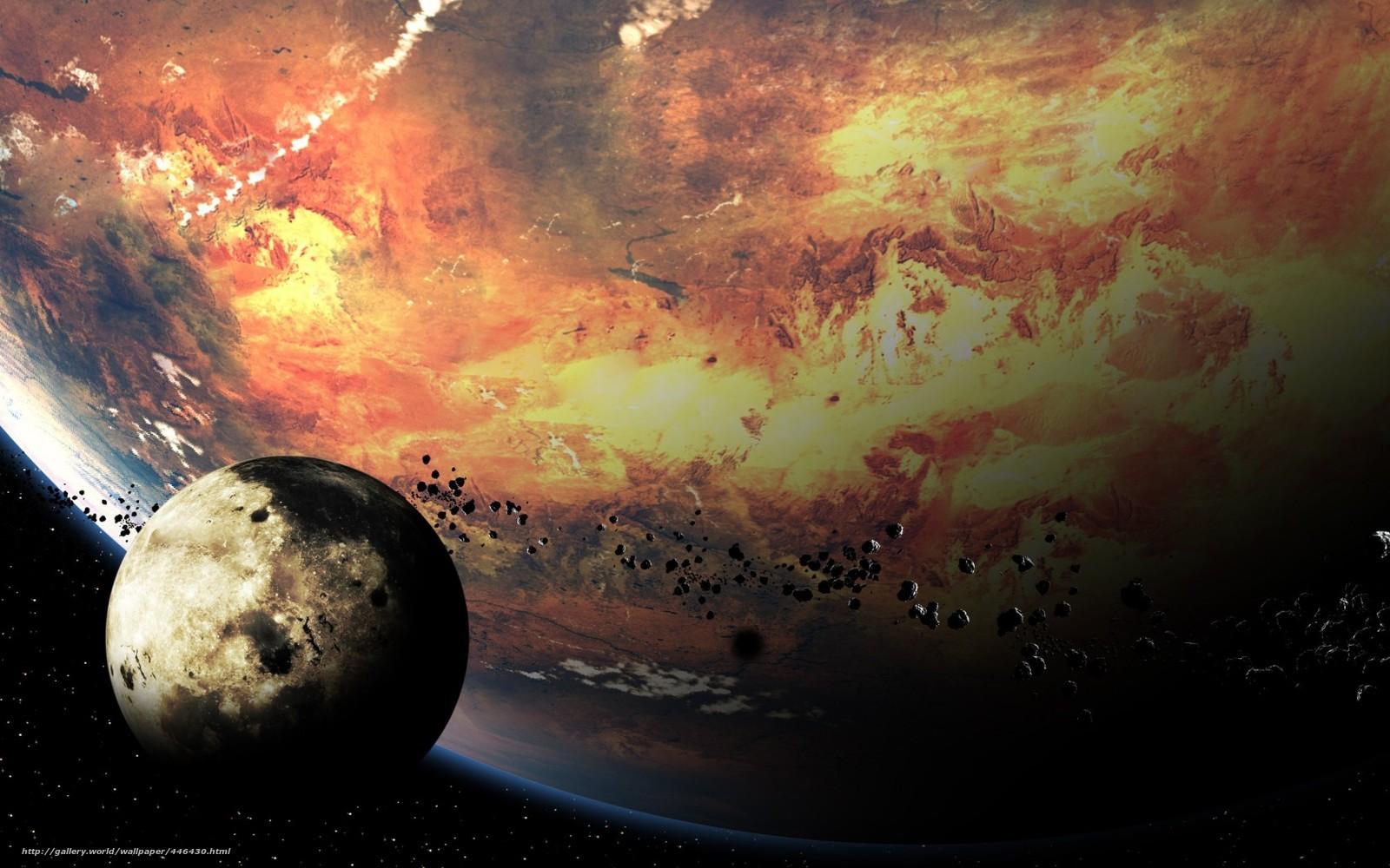 Скачать на телефон обои фото картинку на тему планета, спутник, метеориты, камни, разширение 1680x1050