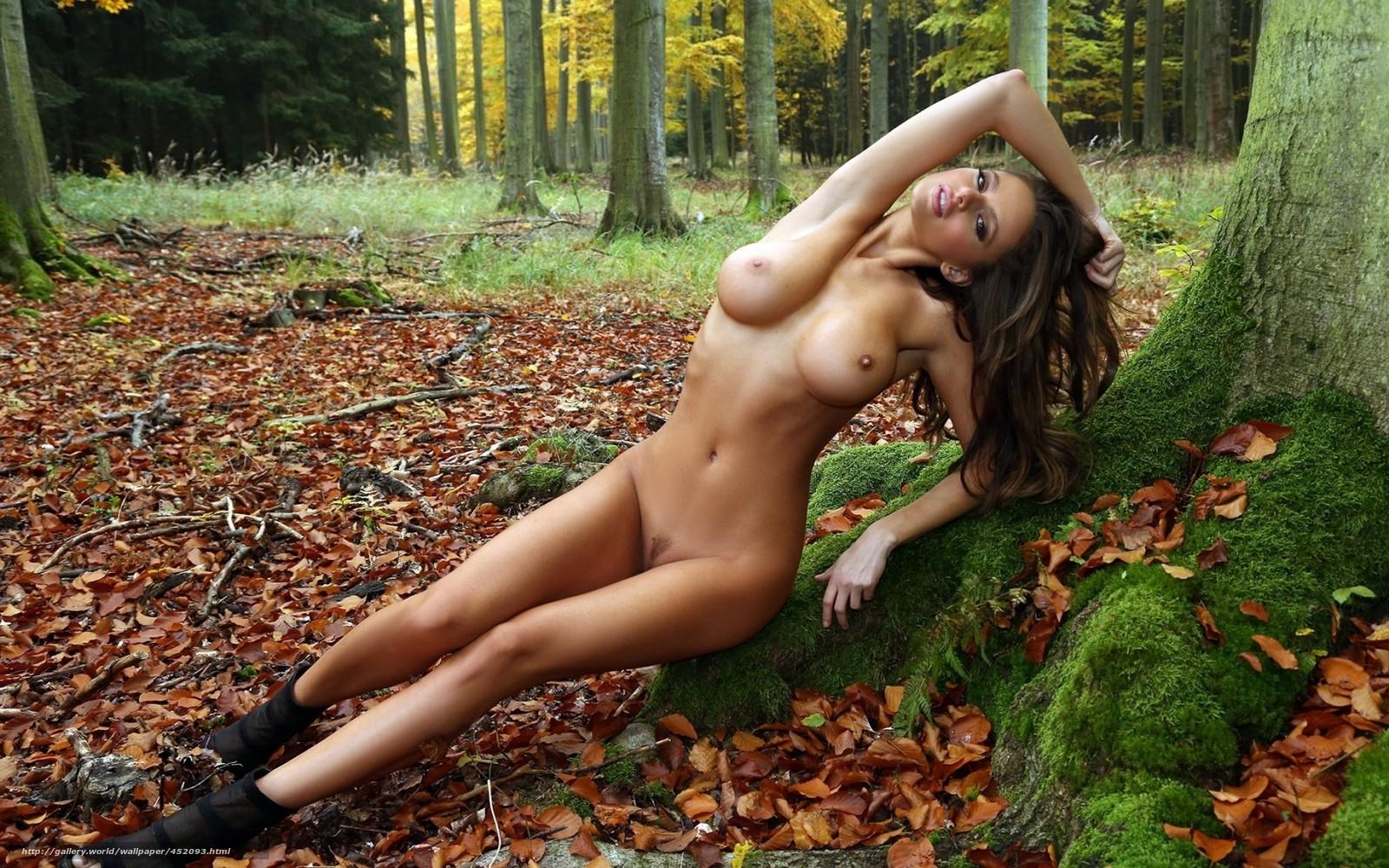 Прекрасная блондинка занимается сексом в лесу фото 782-488