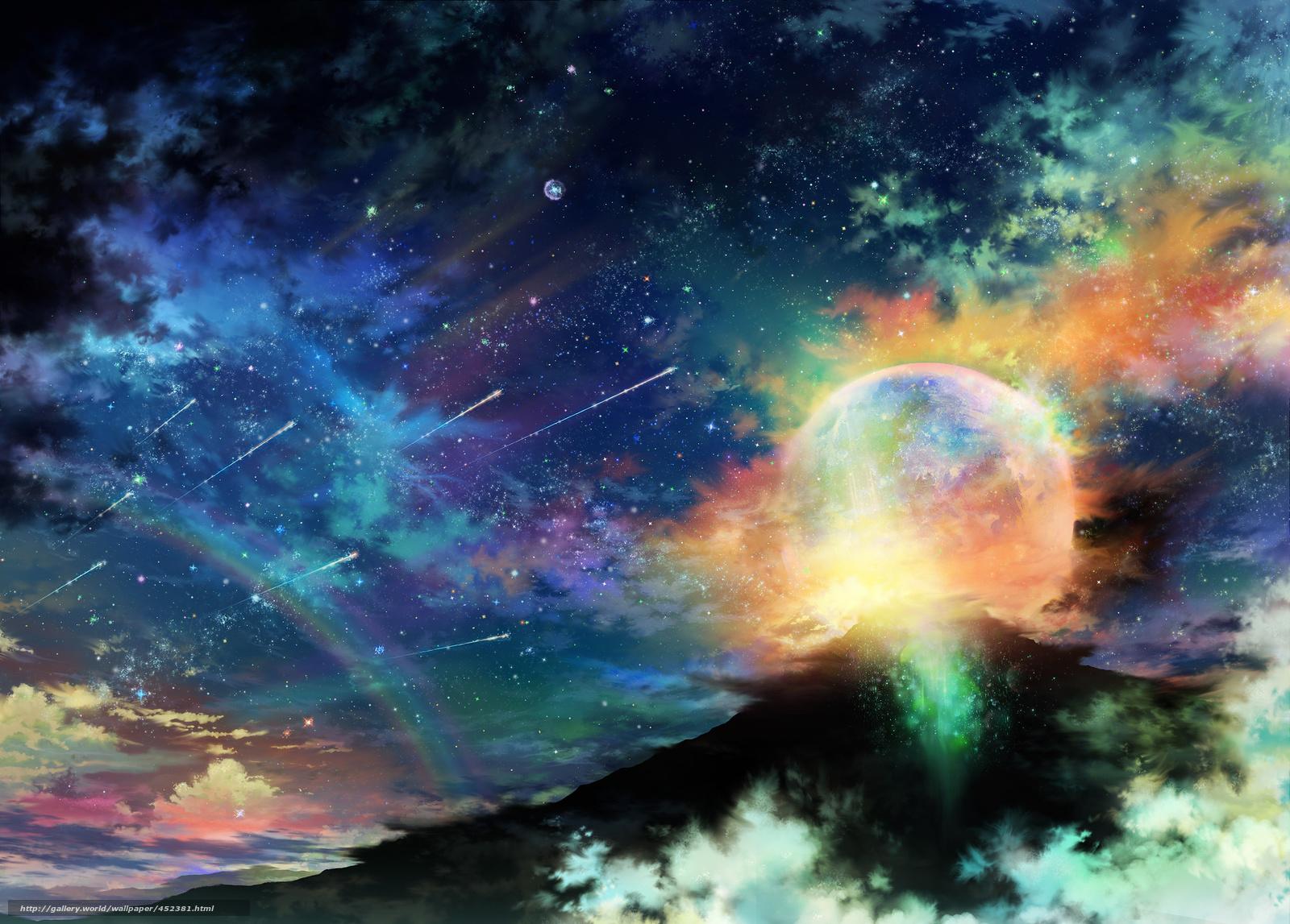 Скачать на телефон обои фото картинку на тему арт, tsujiki, планета, ночь, звезды, облака, радуга, разширение 2480x1778