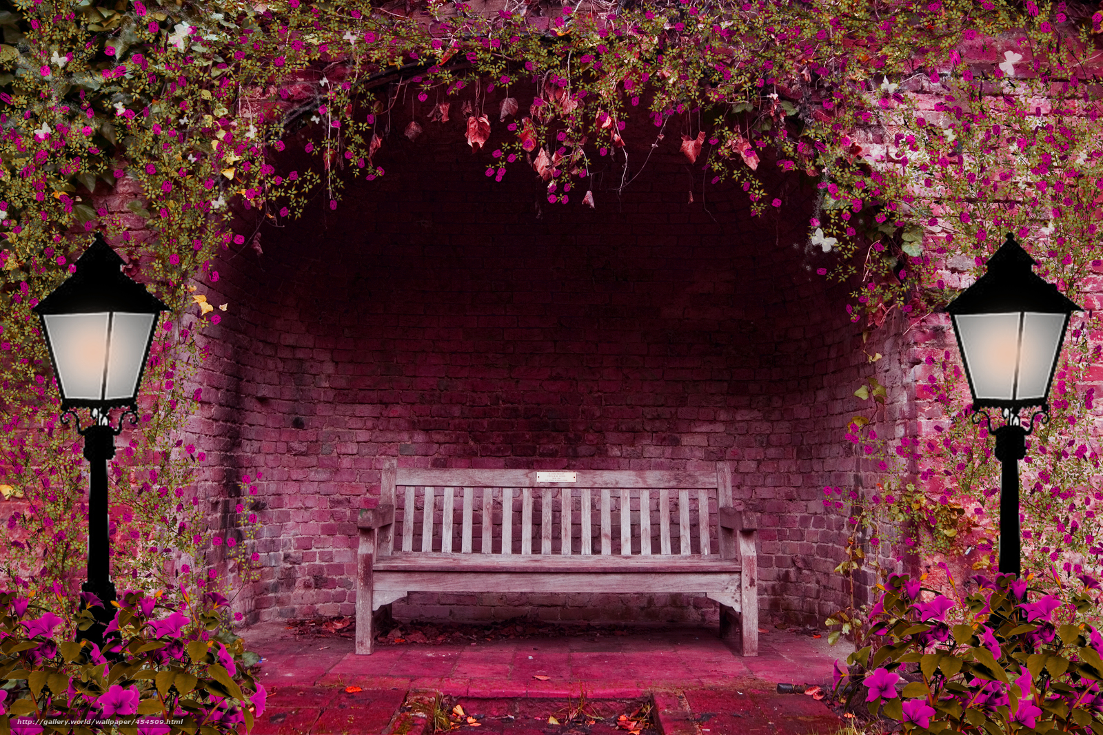 flores jardim primavera:Spring Garden Bench