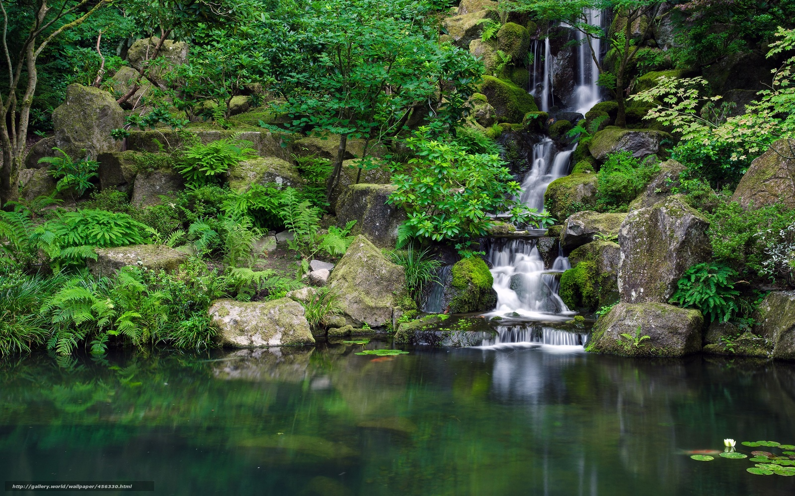 Tapete teich wasserfall park steine japanischer garten for Steine teich