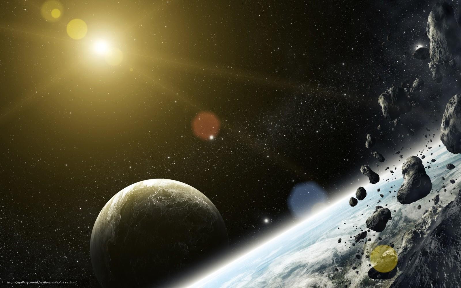 Скачать на телефон обои фото картинку на тему арт, космос, планеты, метеориты, камни, звезда, разширение 1680x1050