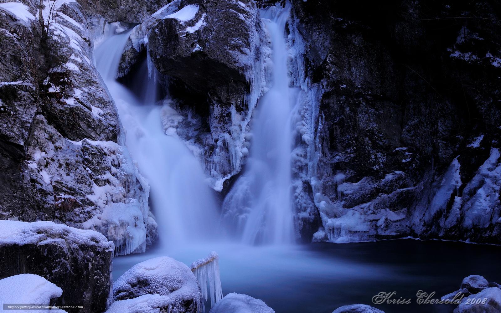 обои для рабочего стола зима водопады № 467094  скачать