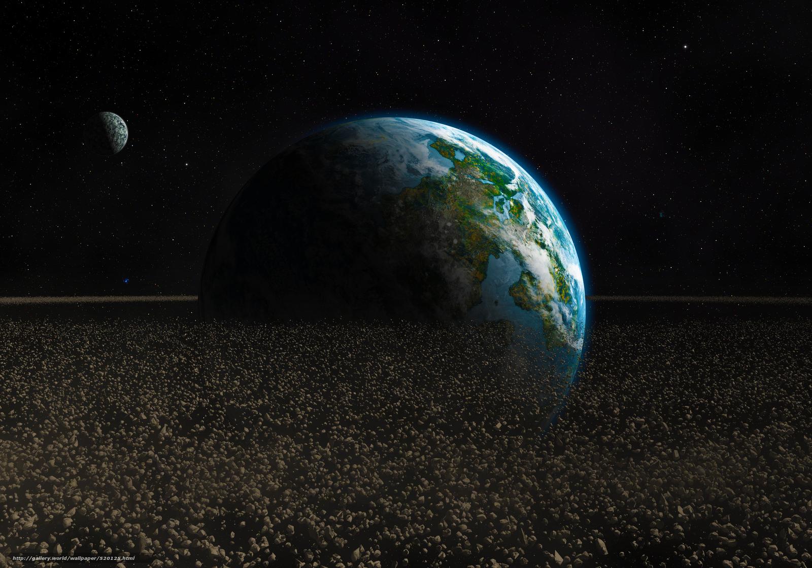 Скачать на телефон обои фото картинку на тему арт, астероиды, планета, обломки, камни, Земля, космос, разширение 5000x3500