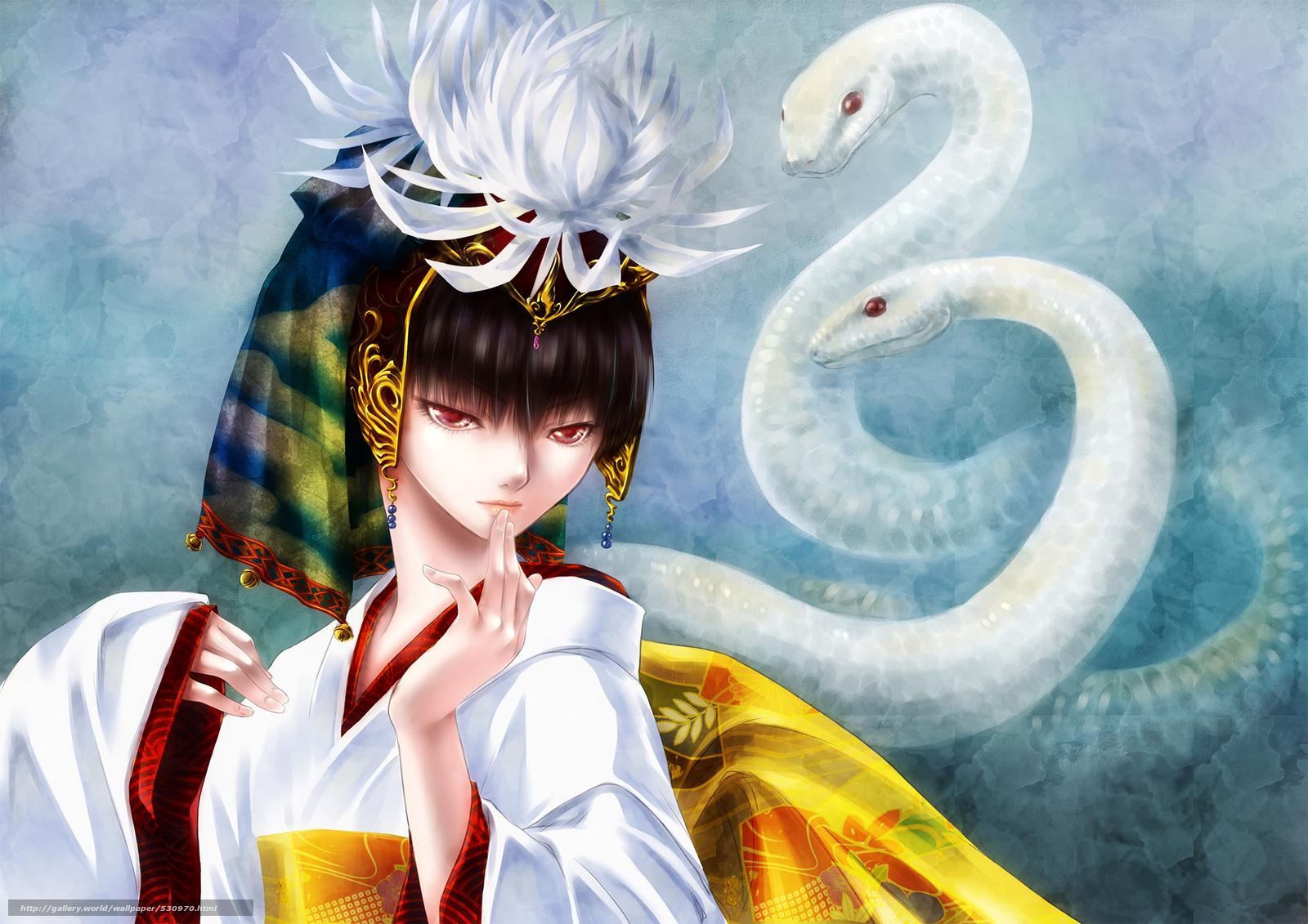 Японка со змеей 12 фотография