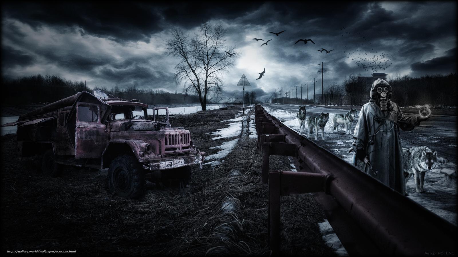 Chernobyl, Apocalipse, Pripyat, Wolves, paisagem, empacotar, artefato, perseguidor, estrada, outono, PRIMAVERA, zil, equipamento, tempestade, c?u, aves, grama, m?quina, catcher