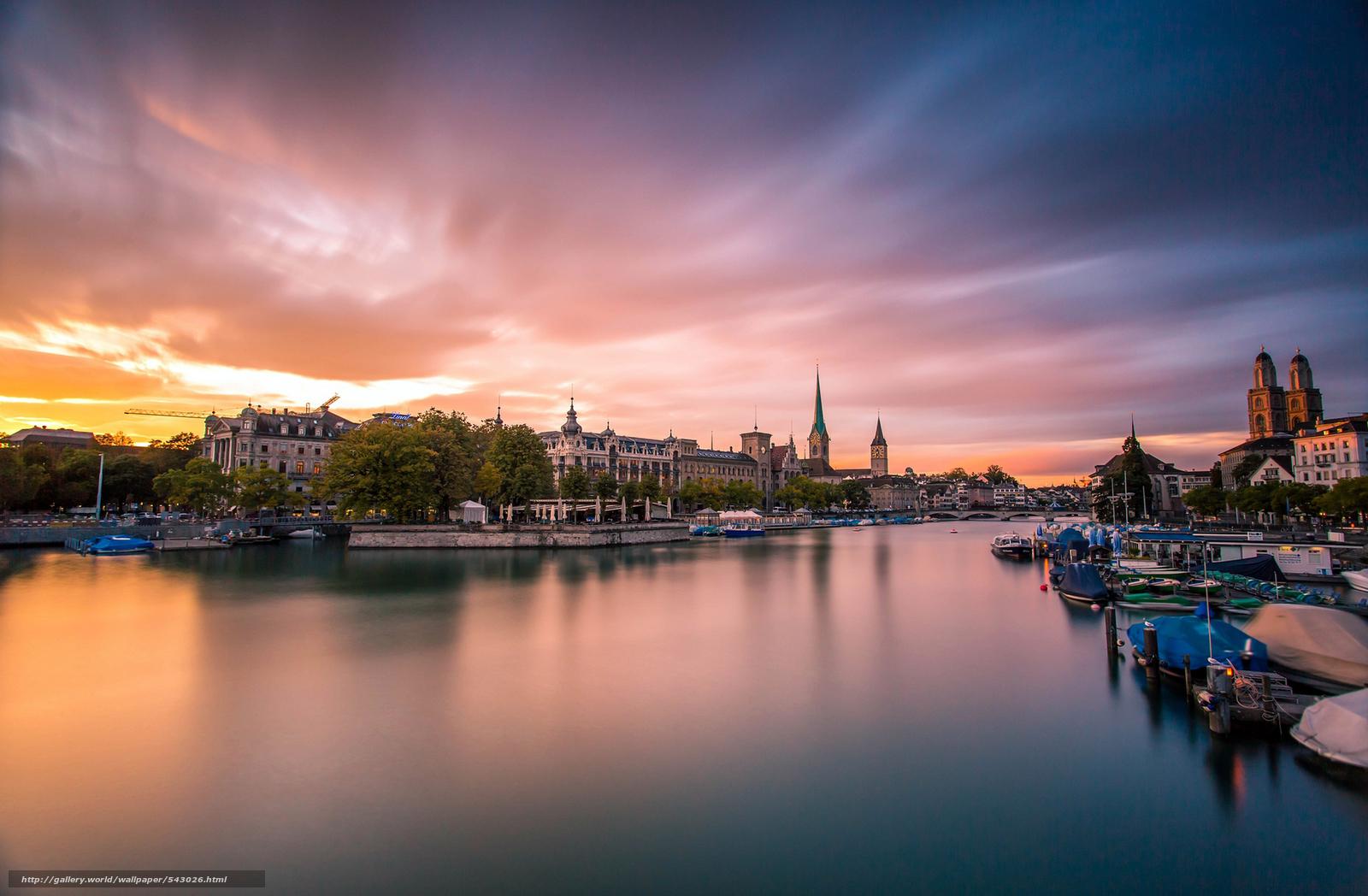 Zurich, Su??a, Schweiz, cidade, noite, p?r do sol, rio, ponte, Barco