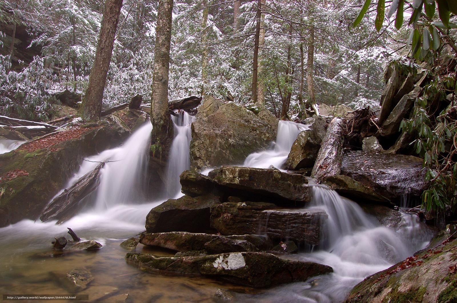 обои для рабочего стола зима водопады № 467116  скачать
