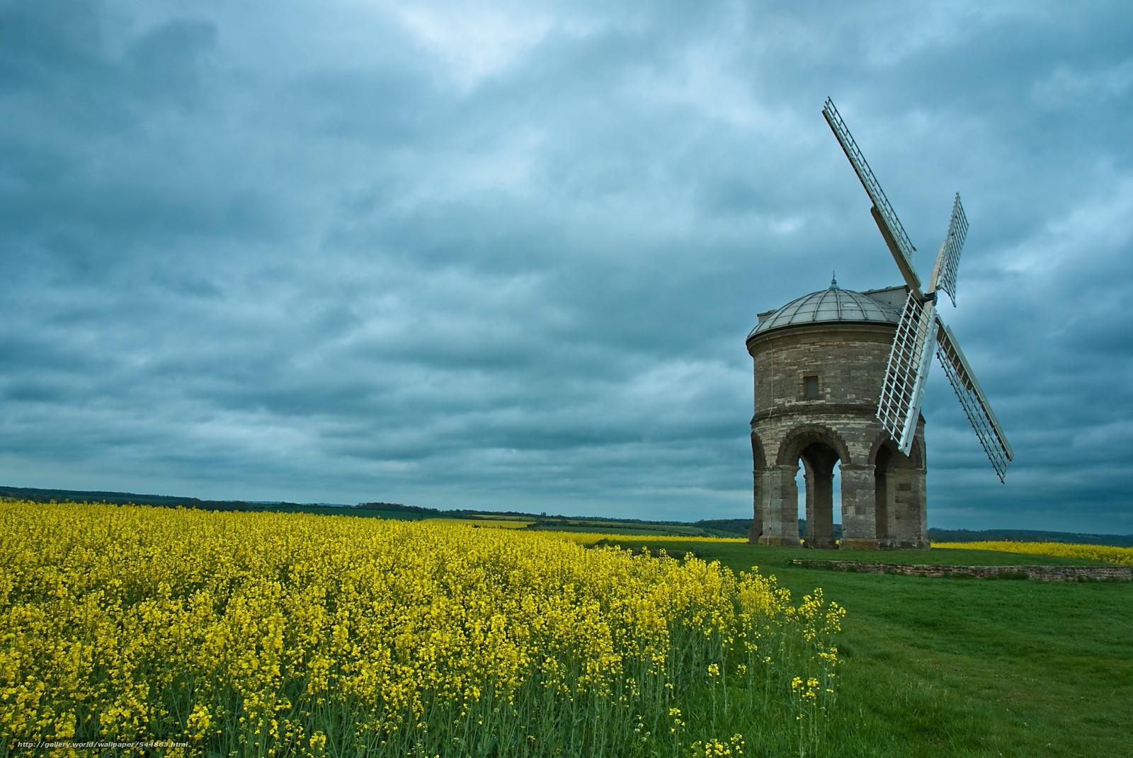 paisagem, moinho, campo
