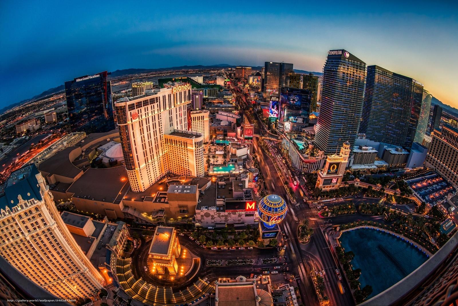 Лас-Вегас, Невада, Nevada, ночной город, Las Vegas, панорама, здания Скачать,  картинка, изображение, фото, обои