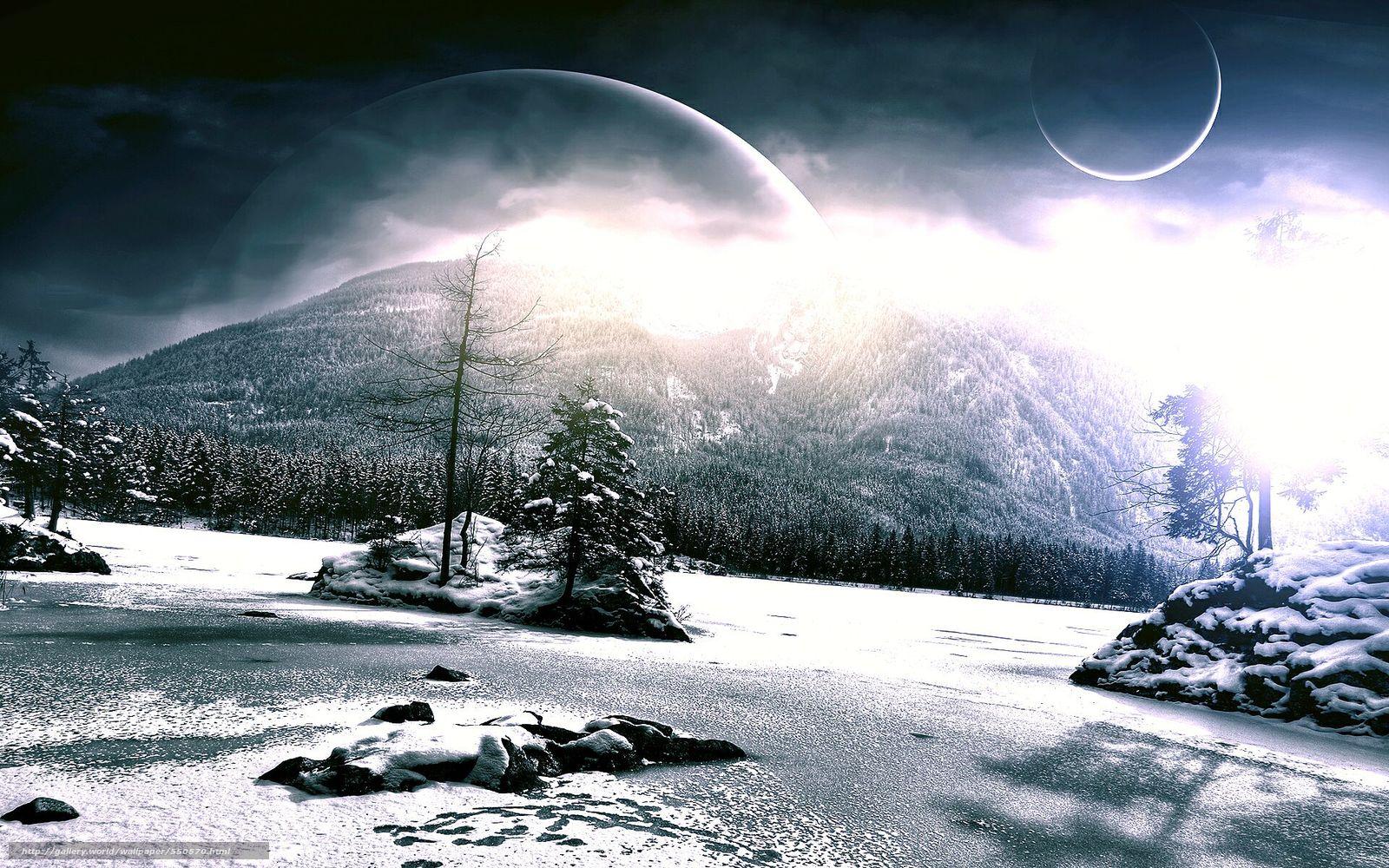 Скачать на телефон обои фото картинку на тему космос, 3d, art, горы, планеты, зима, разширение 1920x1200