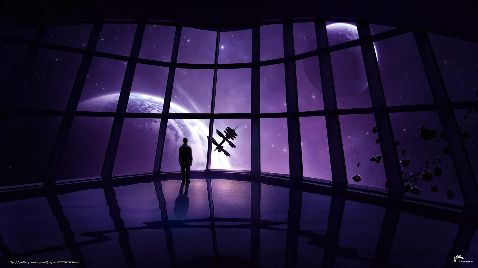 Скачать на телефон обои фото картинку на тему корабль, человек, камни, станция, астероиды, звезды, планеты, метеориты, космос, разширение 1920x1080