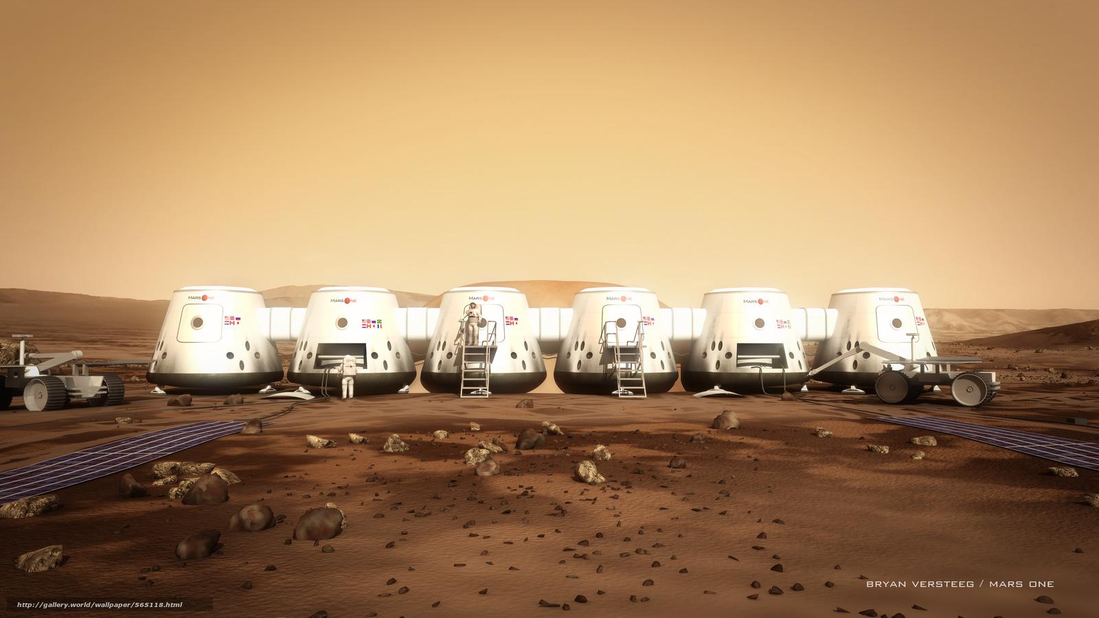 Скачать на телефон обои фото картинку на тему Марс, астронавты, марсоход, камни, грунт, модули, разширение 4000x2250