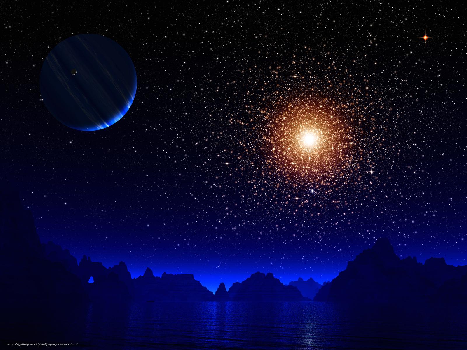 Скачать на телефон обои фото картинку на тему горы, озеро, звезды, вселенная, планета, разширение 2880x2160