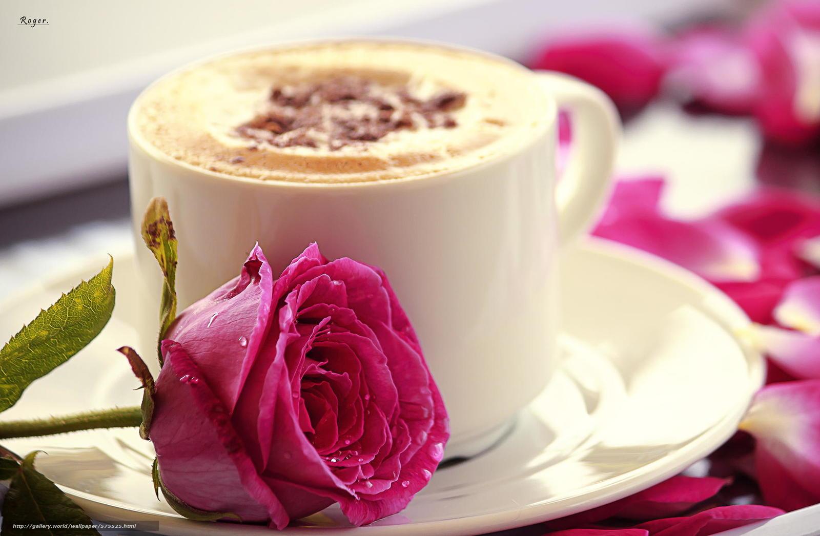 Доброе утро цветы кофе