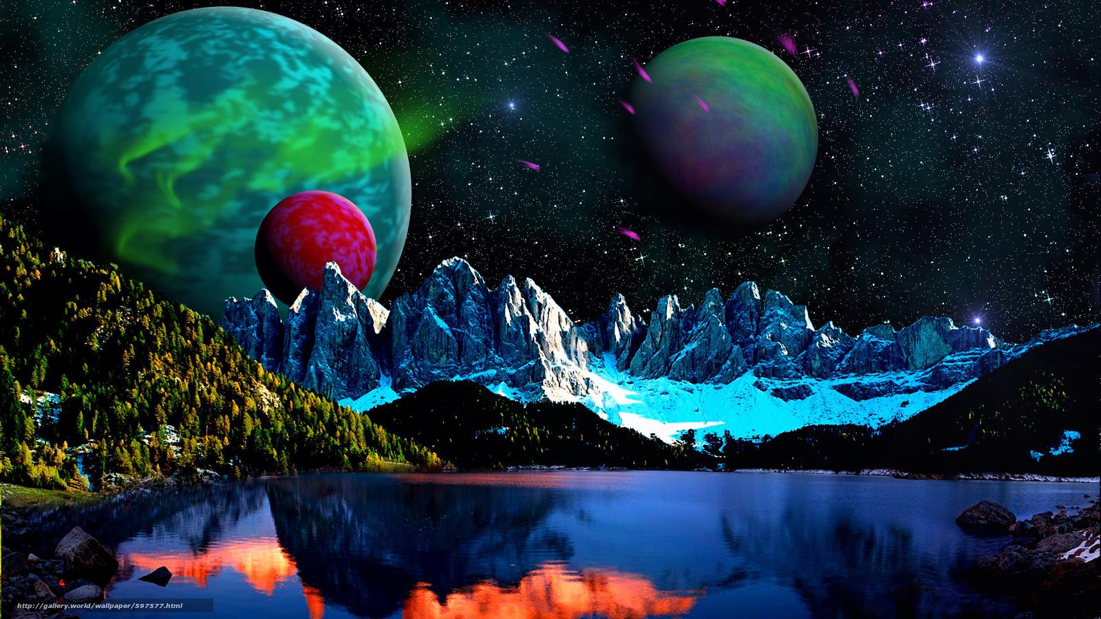 Скачать на телефон обои фото картинку на тему озеро, горы, небо, планеты, разширение 1920x1080