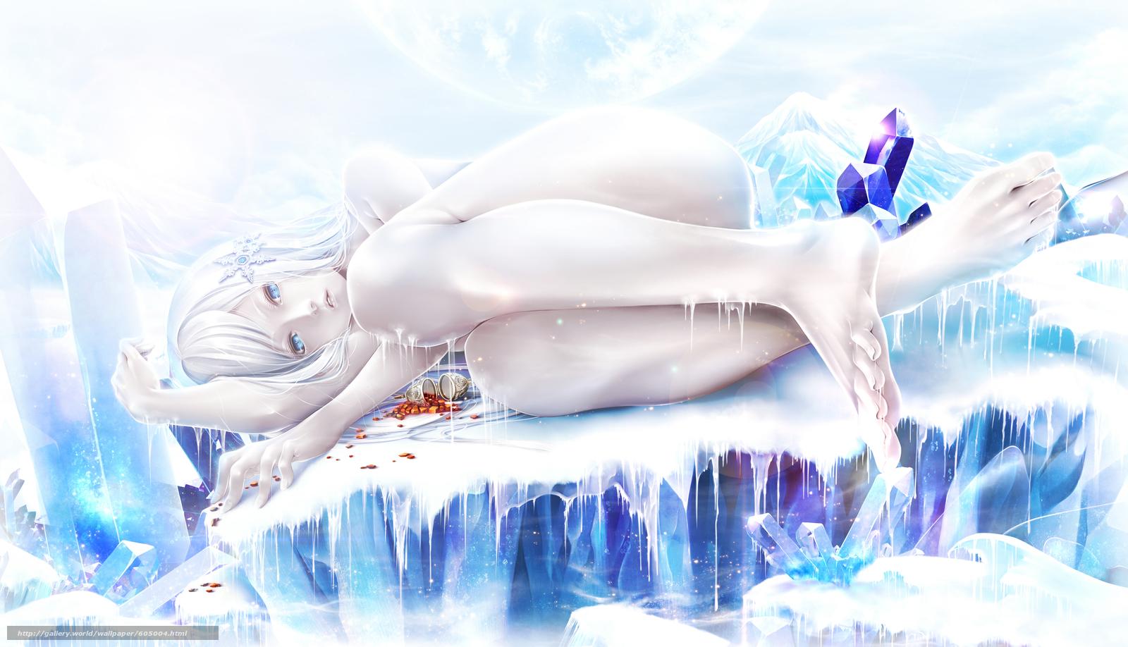 Скачать на телефон обои фото картинку на тему Аниме, Девушка, Лёд, разширение 4000x2296
