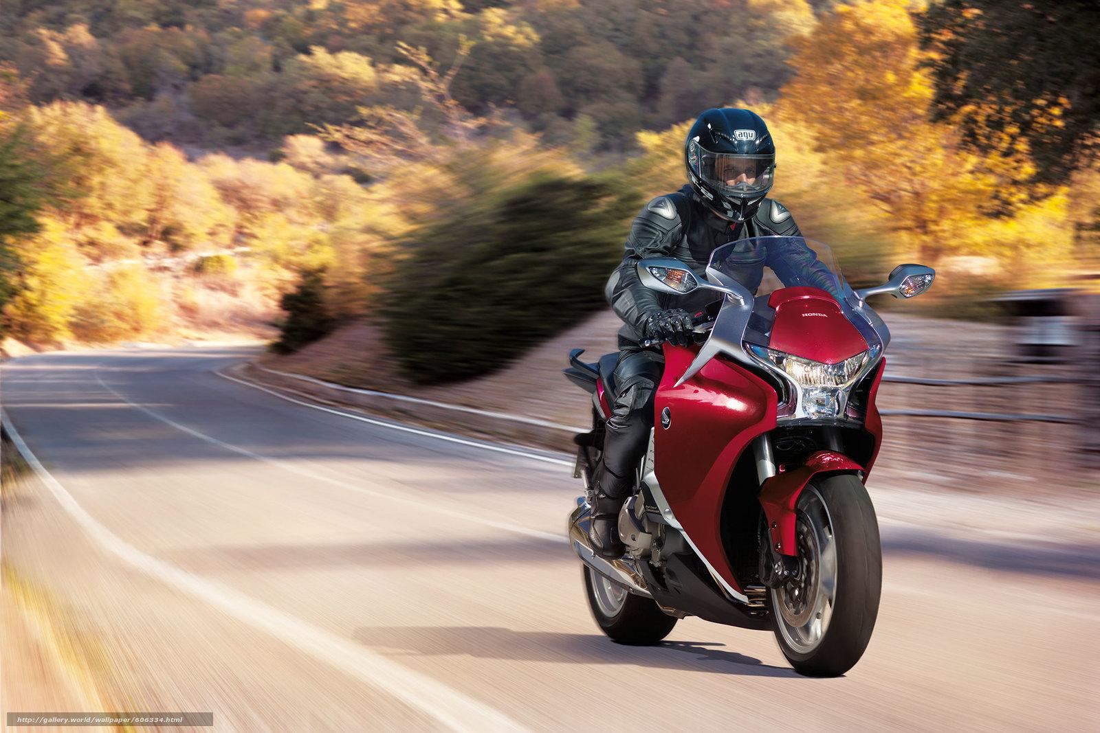 Скачать на телефон обои фото картинку на тему трасса, Honda, VFR1200FA, red bike, разширение 2014x1343