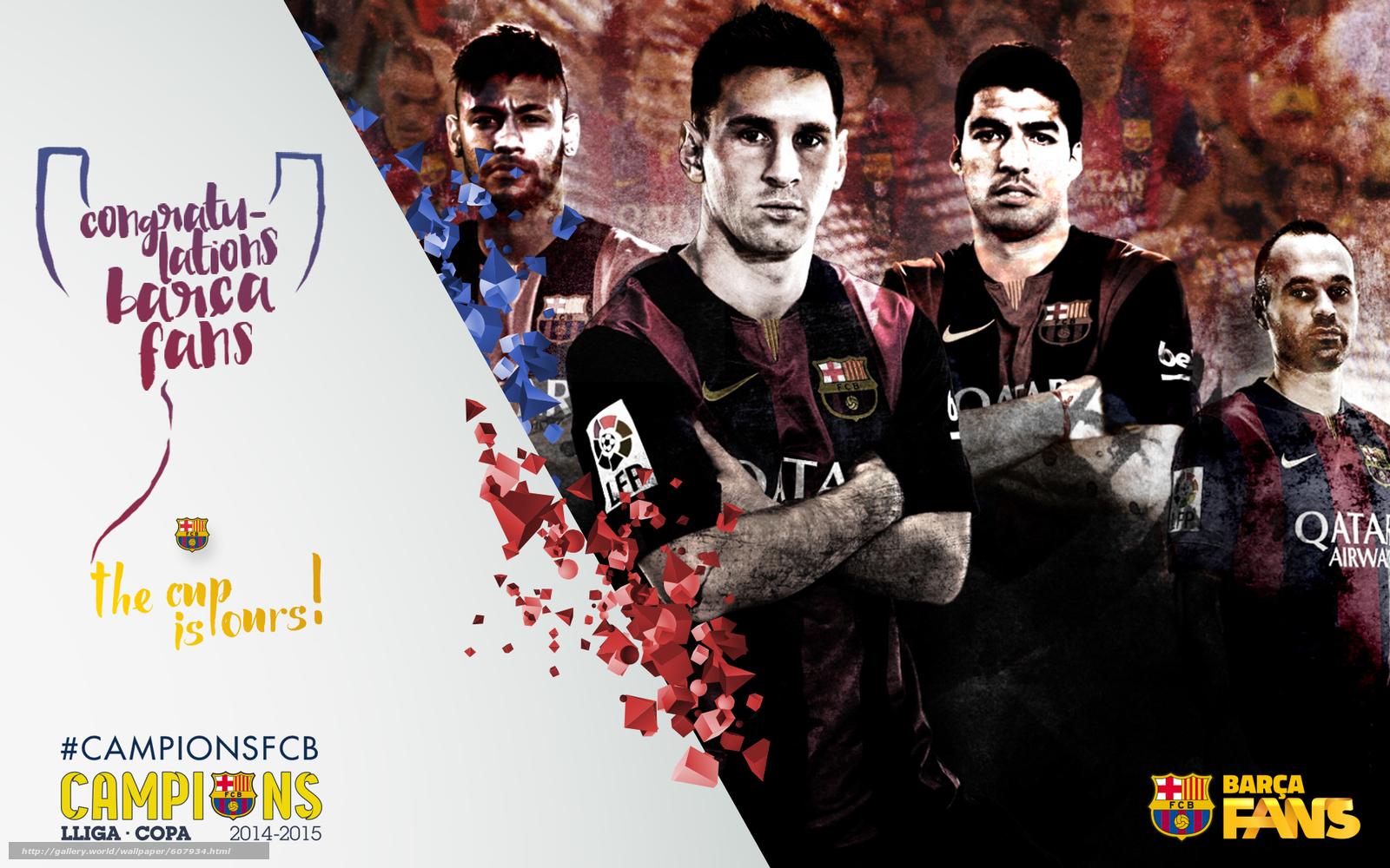 Скачать на телефон обои фото картинку на тему футбол, FC Barcelona, 2015, Copa del Rey, Champions, команда, разширение 1920x1200