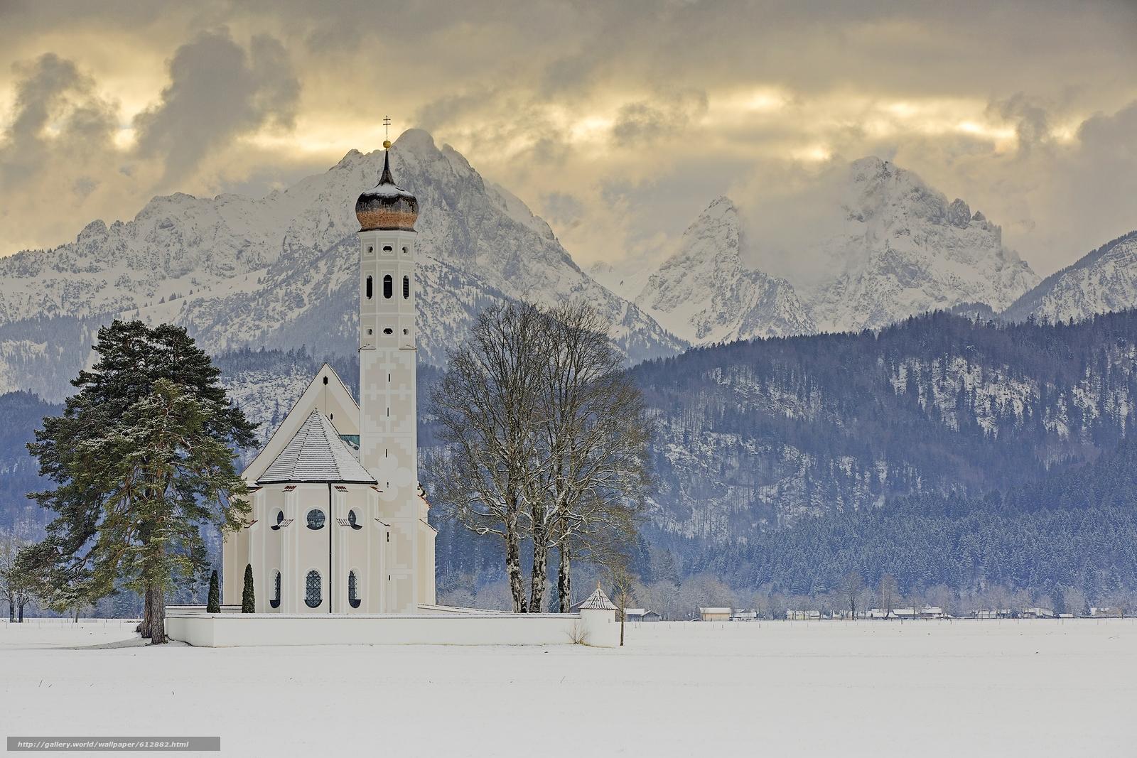 Скачать на телефон обои фото картинку на тему Sankt Coloman, Schwangau, Bavaria, Germany, Alps, Церковь Святого Кальмана, Швангау, Бавария, Германия, Альпы, церковь, горы, деревья, зима, разширение 3750x2500