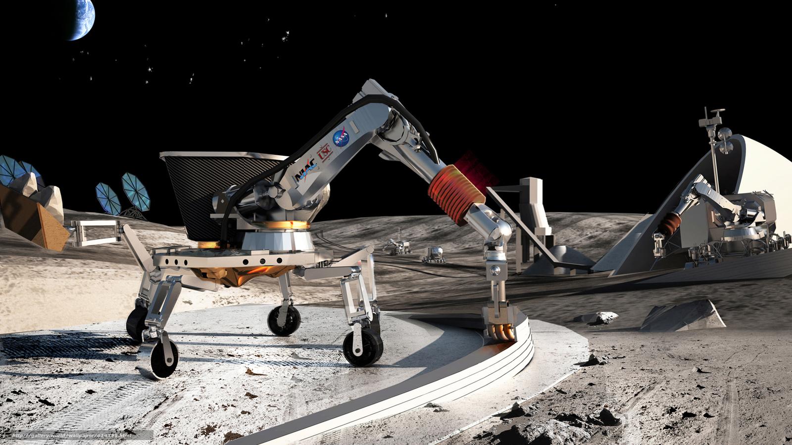 Скачать на телефон обои фото картинку на тему Луна, космос, проект, НАСА, робот, Земля, стройка, база, станция, камни, грунт, разширение 1646x926