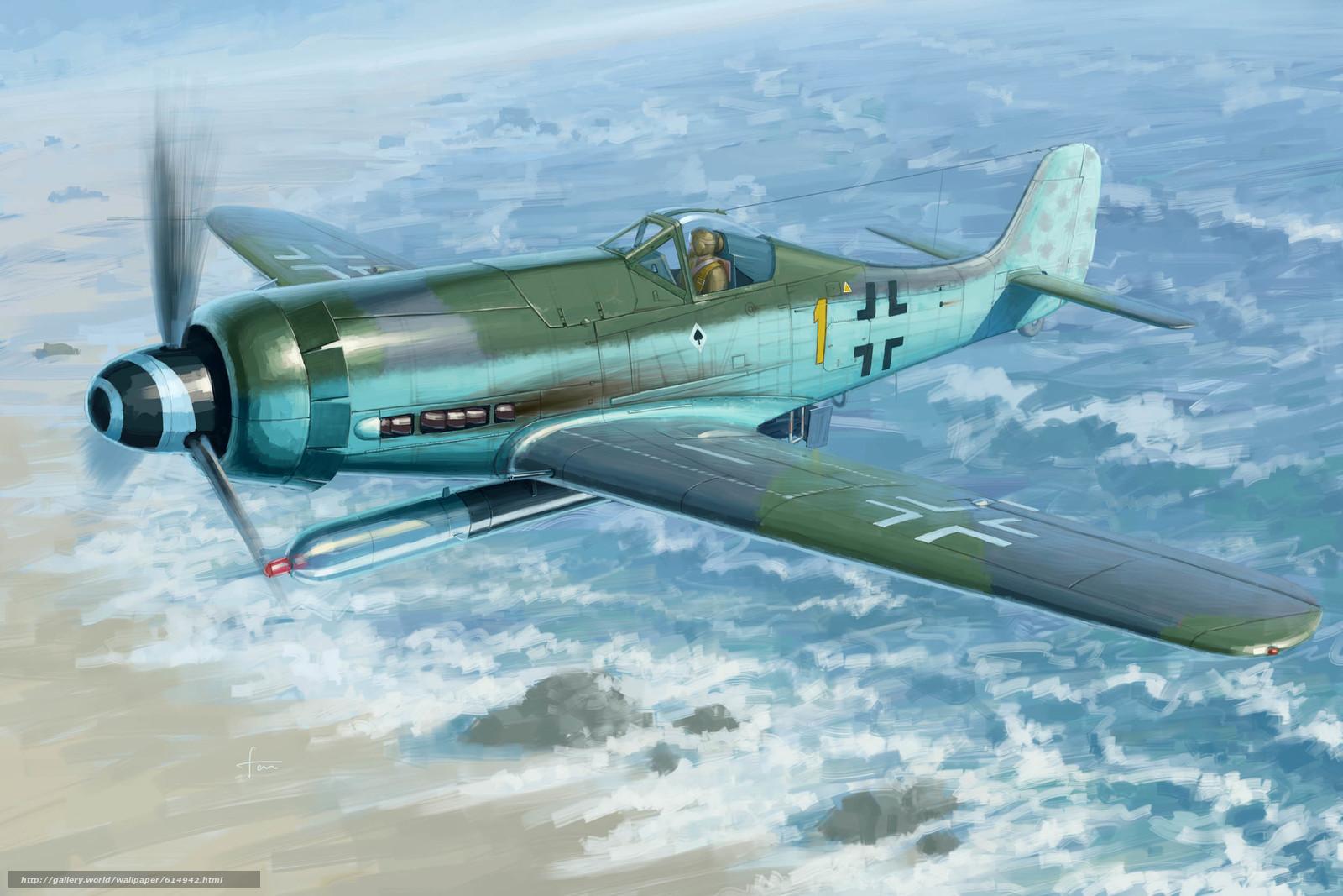 Скачать на телефон обои фото картинку на тему арт, Самолет, Люфтваффе, Германия, Focke-Wulf FW190D-12 R14, разширение 2500x1667