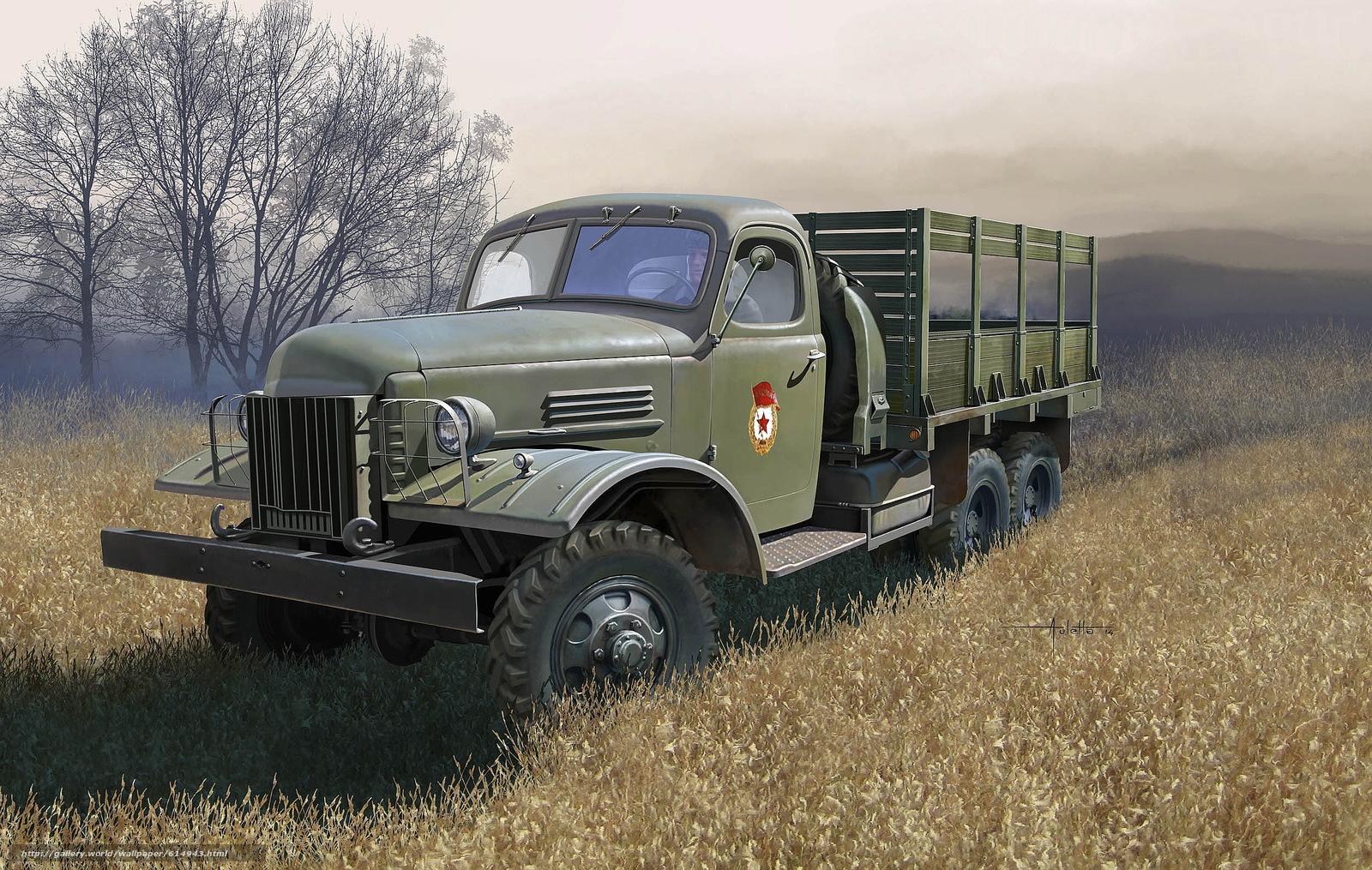 Скачать на телефон обои фото картинку на тему арт, Машина, Военный грузовик, СССР, ЗиС-151, разширение 2500x1586