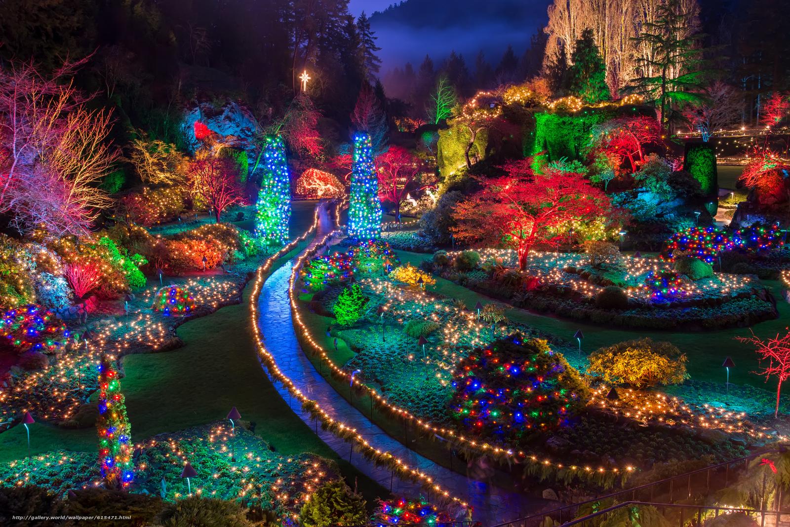 Скачать на телефон обои фото картинку на тему Buchart Gardens, Christmas Lights, Saanichton, British Columbia, Canada, разширение 6016x4016