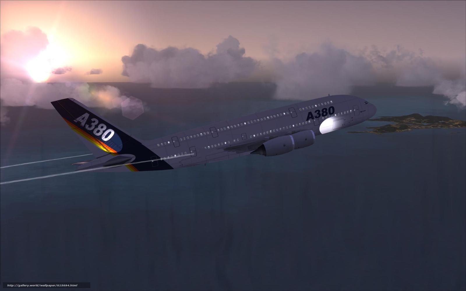 Скачать на телефон обои фото картинку на тему пассажирский, самолёт, аэробус, А380, небо, облака, полет, море, волны, остров, заря, авиация, транспорт, разширение 1920x1200