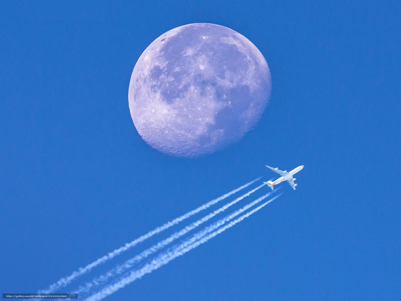 Скачать на телефон обои фото картинку на тему самолёт, Луна, планета, небо, разширение 1920x1441