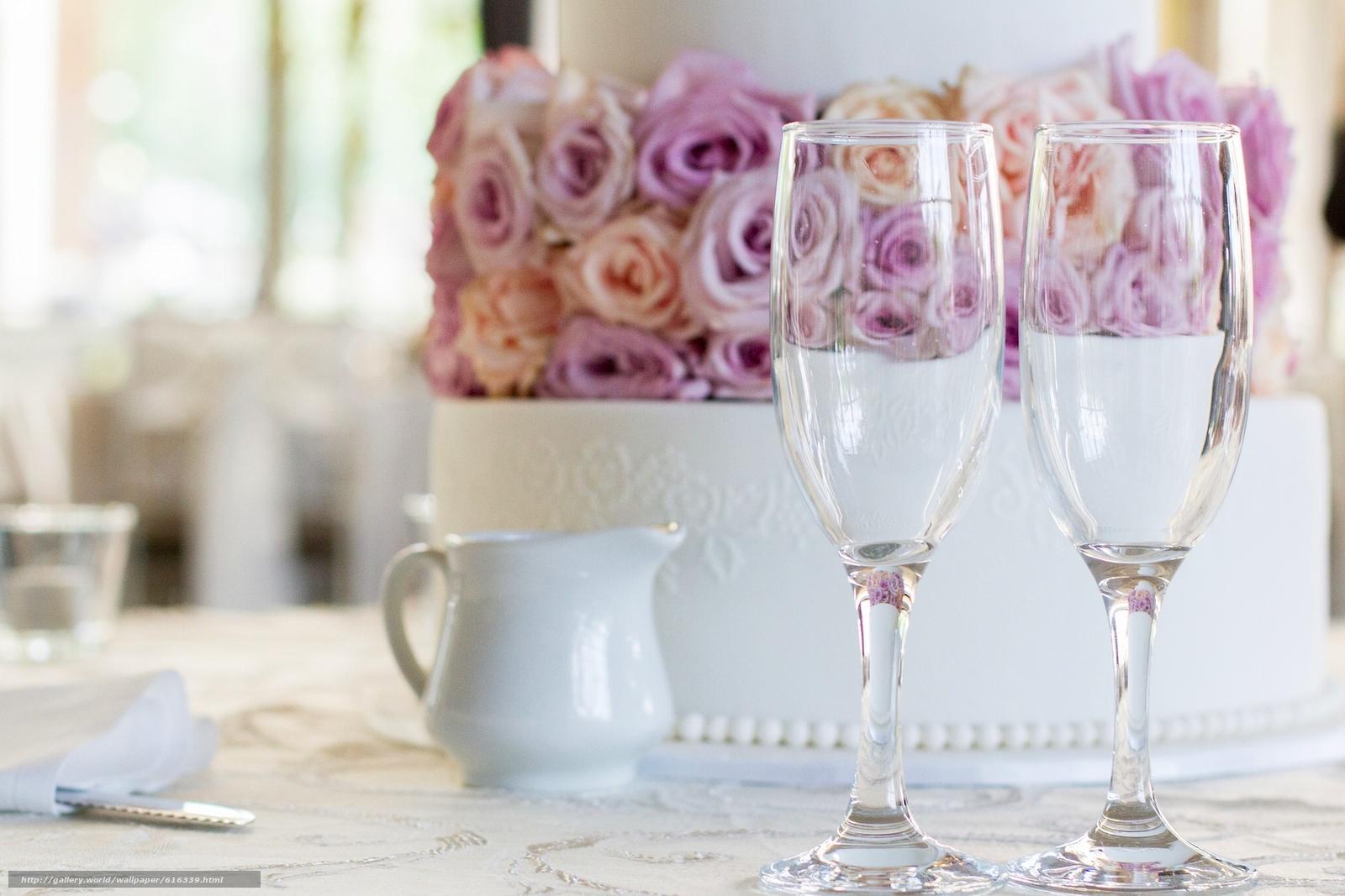 Скачать на телефон обои фото картинку на тему свадебный торт, торт, бокалы, разширение 2048x1366