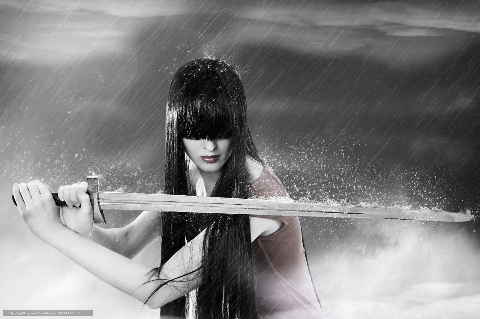 Скачать на телефон обои фото картинку на тему меч, дождь, девушка, брюнетка, разширение 8576x5696