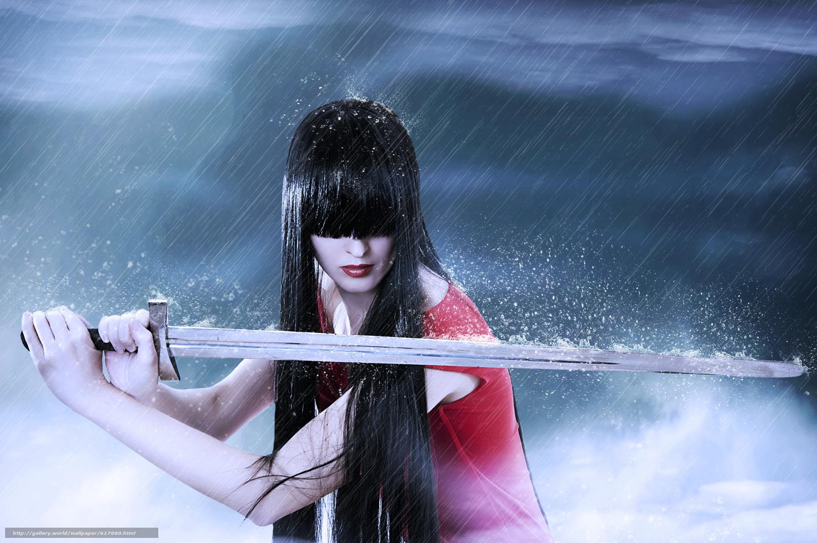 Скачать на телефон обои фото картинку на тему меч, дождь, девушка, брюнетка, разширение 4288x2848