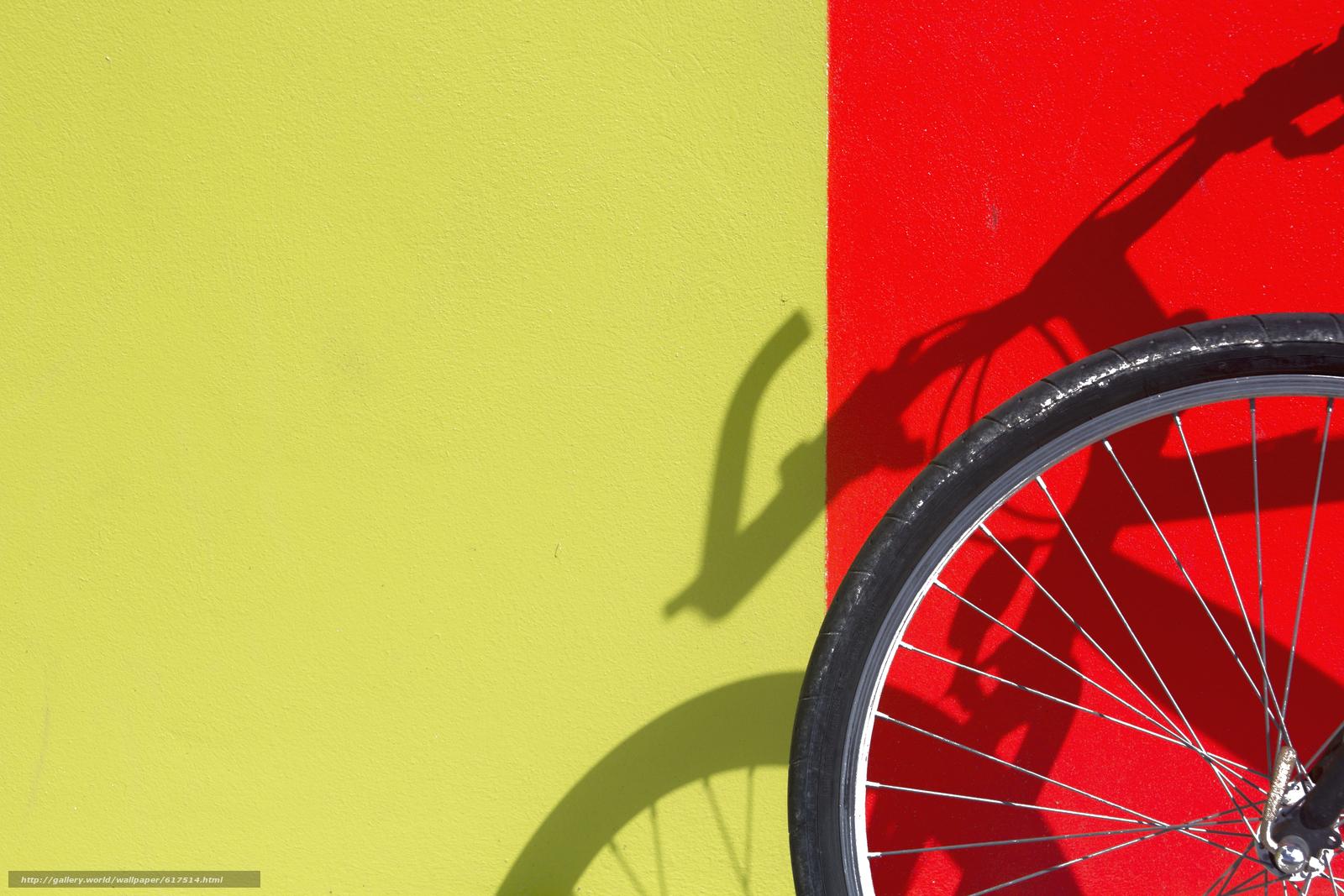 Скачать на телефон обои фото картинку на тему стена, жёлтый, красный, тень, велосипед, колесо, разширение 5184x3456