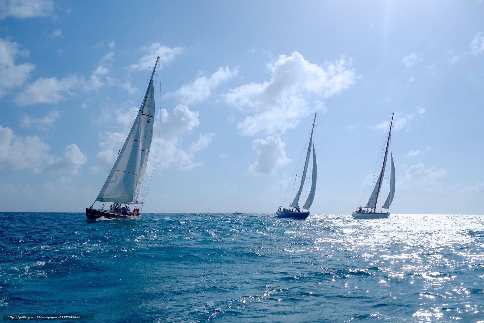 Скачать на телефон обои фото картинку на тему Sint Maarten, Caribbean Sea, Синт-Мартен, Карибское море, яхты, регата, море, разширение 3600x2400