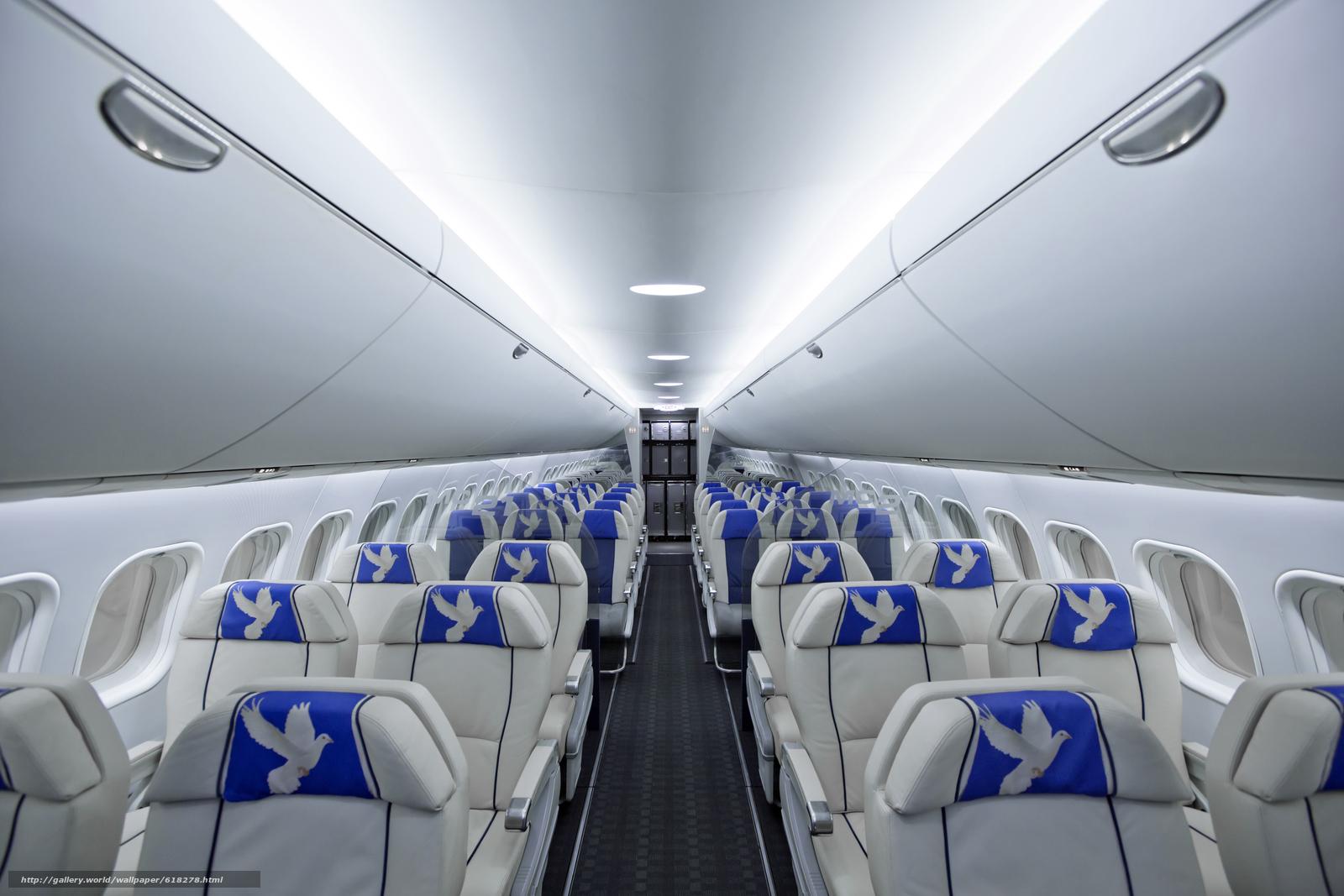 Скачать на телефон обои фото картинку на тему Пассажирский, салон, самолет, МС-21, ЯК, авиация, кресло, голубь, разширение 5760x3840