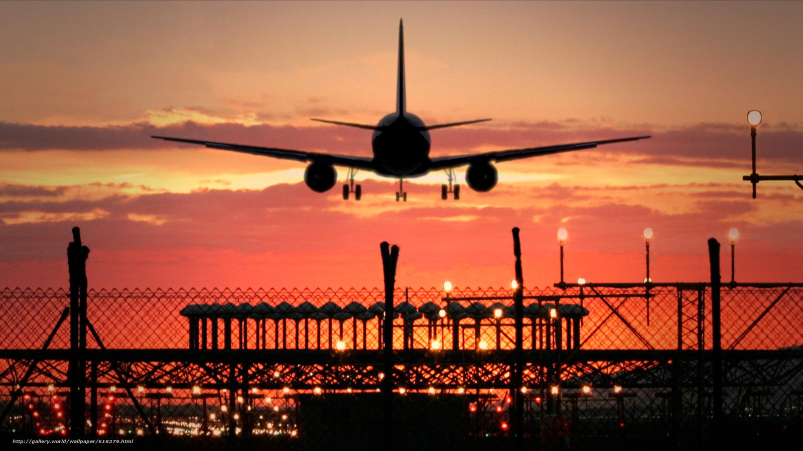 Скачать на телефон обои фото картинку на тему Посадка, МС-21, самолёт, аэропорт, авиация, небо, вечер, закат, разширение 1920x1080