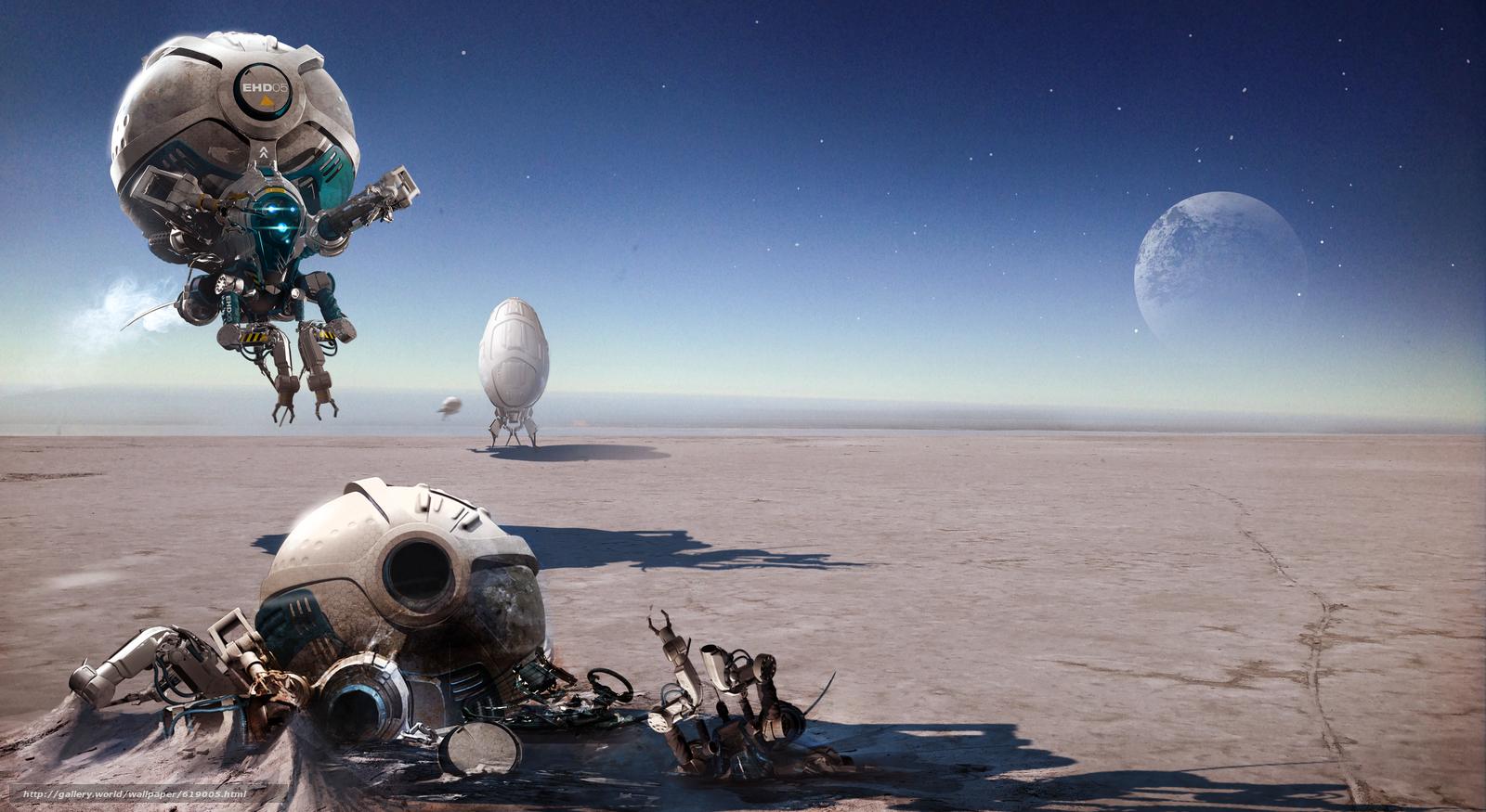Скачать на телефон обои фото картинку на тему igor_sobolevsky, Imaginary landscape, drones, crash, moon, desert, flight, разширение 5720x3129