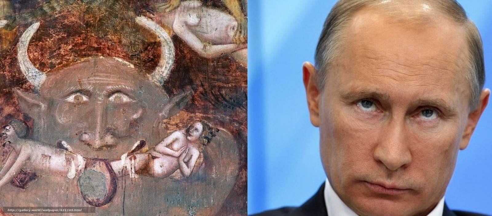 Скачать на телефон обои фото картинку на тему фреска, 14 век, антихрист, путлер, разширение 2050x900