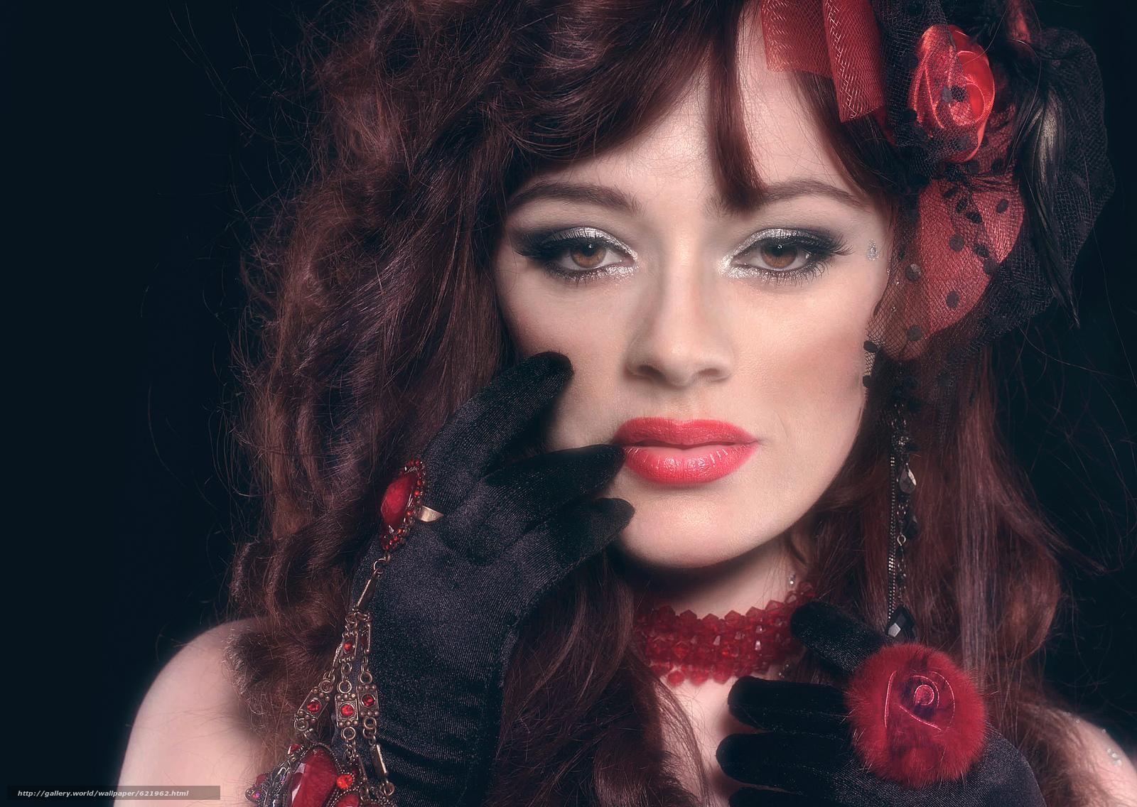 Скачать на телефон обои фото картинку на тему девушка, портрет, лицо, макияж, взгляд, рука, перчатка, кольцо, украшения, разширение 2048x1454