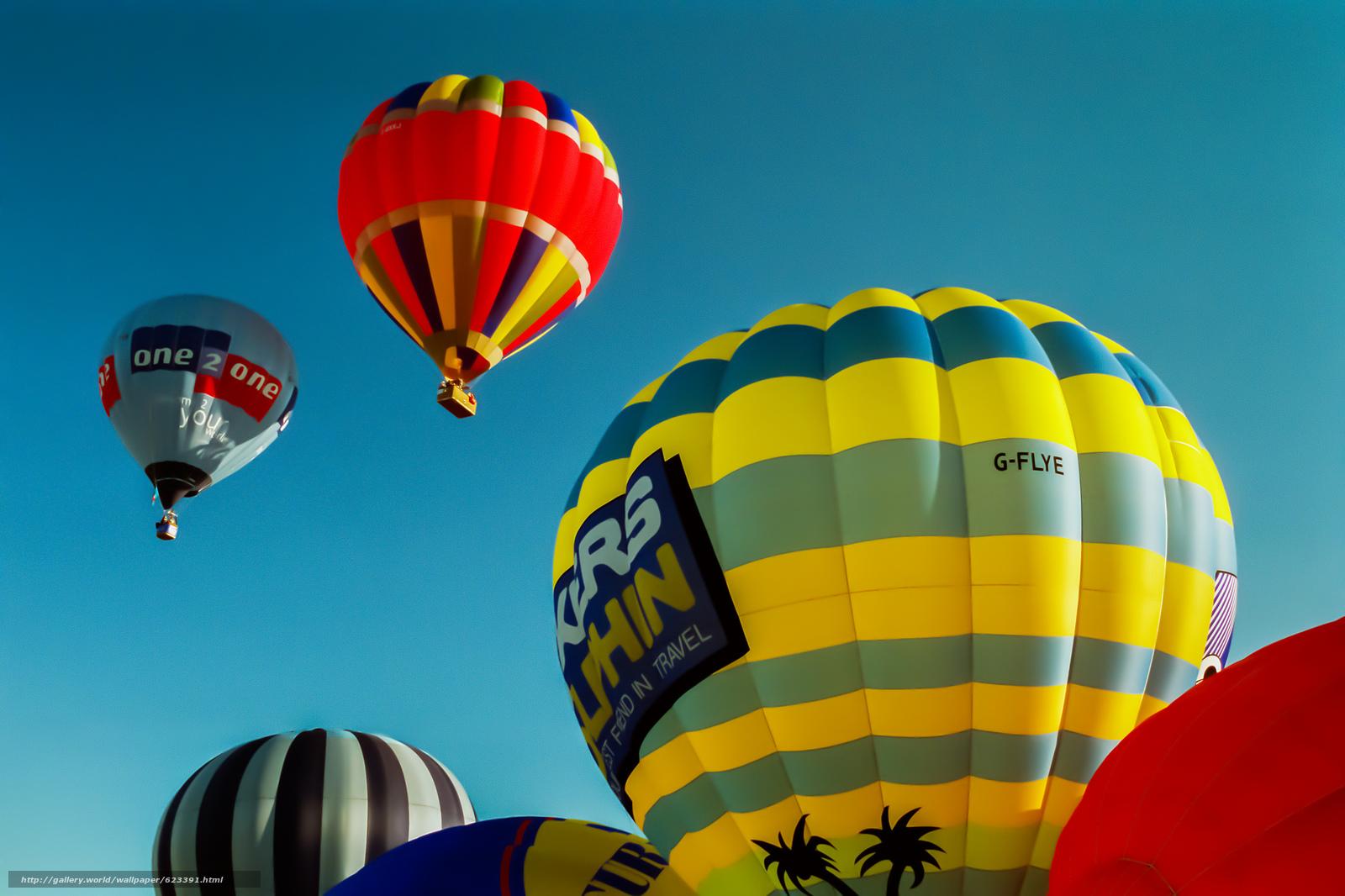 Скачать на телефон обои фото картинку на тему воздушные шары, небо, полёт, разширение 2048x1365