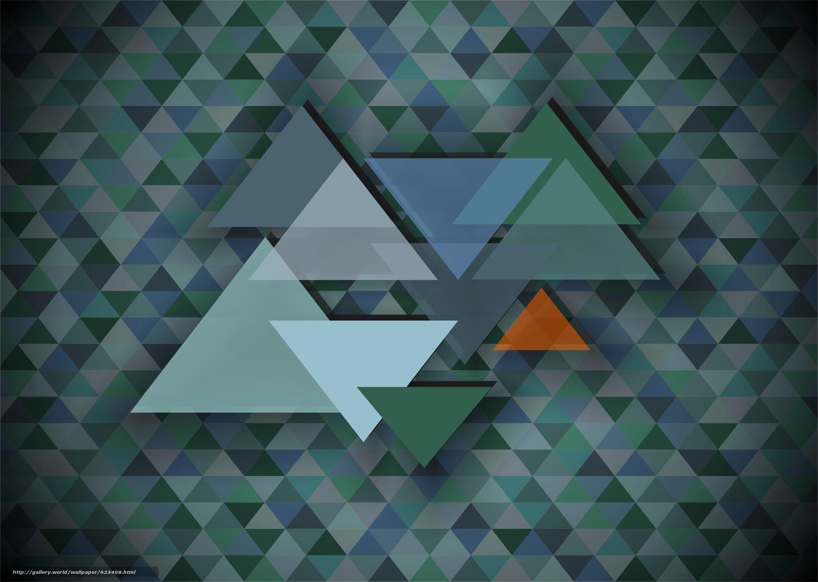 Скачать на телефон обои фото картинку на тему треугольник, мозаика, абстракция, фон, разширение 3570x2542