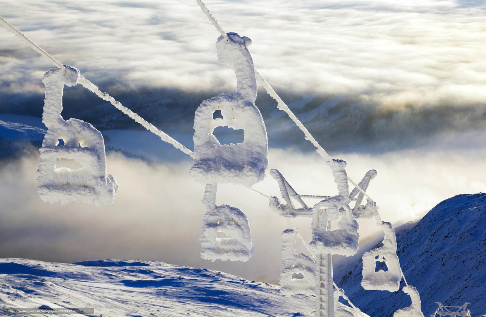 Скачать на телефон обои фото картинку на тему подъемник, гора, Areskutan, Швеция, разширение 3087x2015