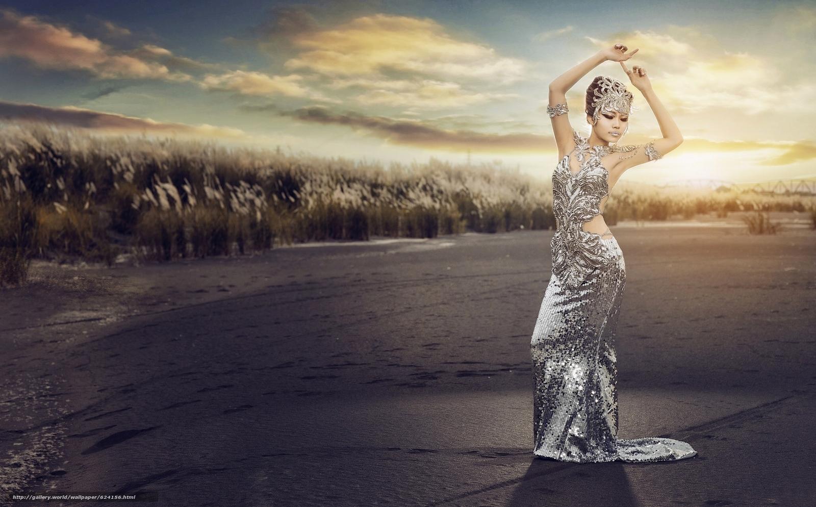 Скачать на телефон обои фото картинку на тему азиатка, фигура, поза, платье, наряд, закат, разширение 2048x1272