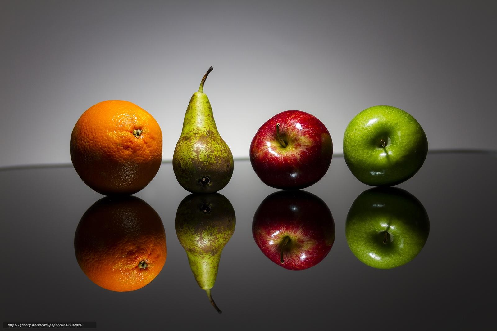 Скачать на телефон обои фото картинку на тему фрукты, яблоки, груша, апельсин, разширение 2592x1728