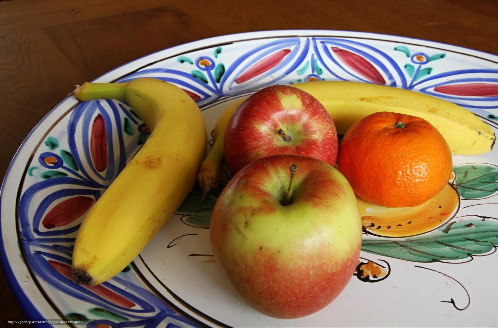 Скачать на телефон обои фото картинку на тему блюдо, фрукты, яблоки, банан, мандарин, разширение 4741x3122