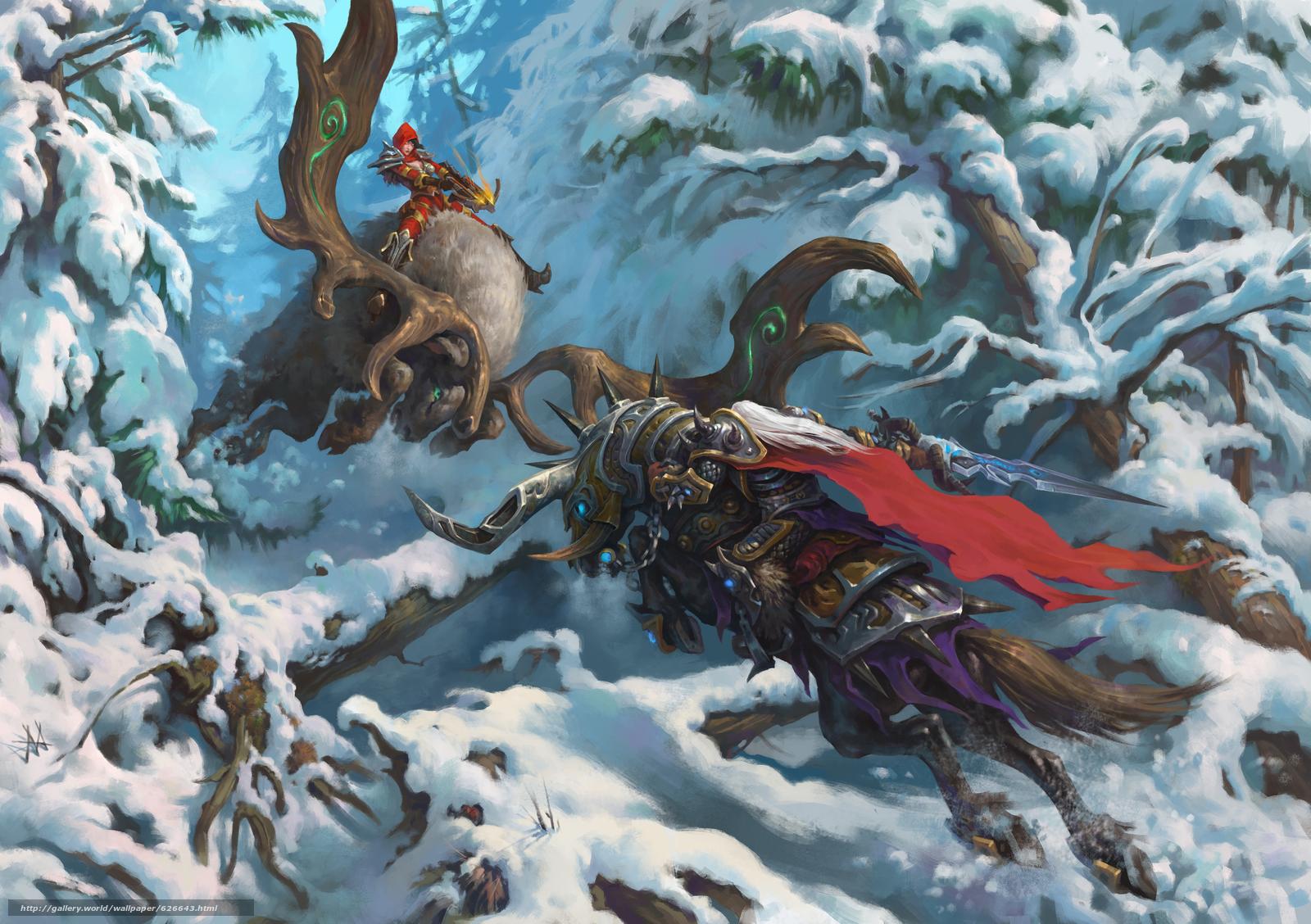 Скачать на телефон обои фото картинку на тему Heroes of the Storm, Arthas, The Lich King, Valla, Demon Hunter, Артас, Король-лич, Валла, Охотница на демонов, сражение, битва, зима, снег, разширение 4254x3000