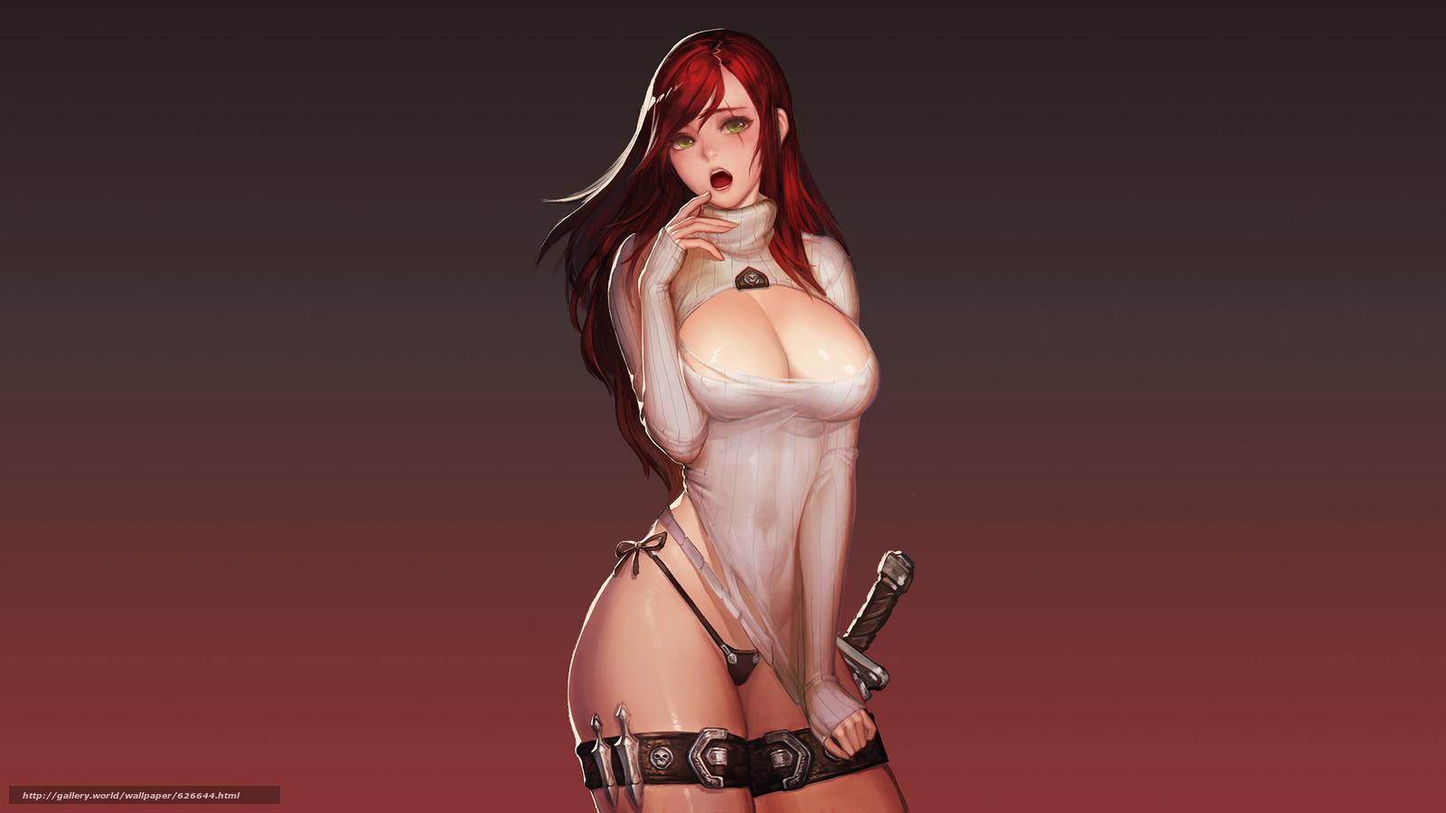 Скачать на телефон обои фото картинку на тему League of Legends, Katarina, девушка, фигура, грудь, фан-арт, разширение 2560x1440